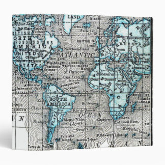 Vintage World Map in Black and Blue 3 Ring Binder