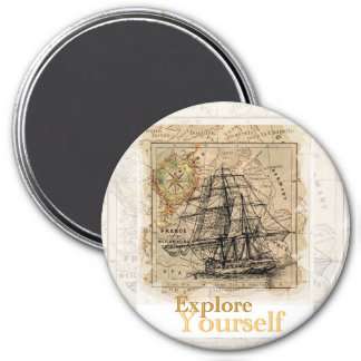 vintage world map inspirational quote magnet