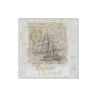 vintage world map inspirational quote stone magnet