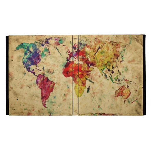 Vintage world map iPad folio case