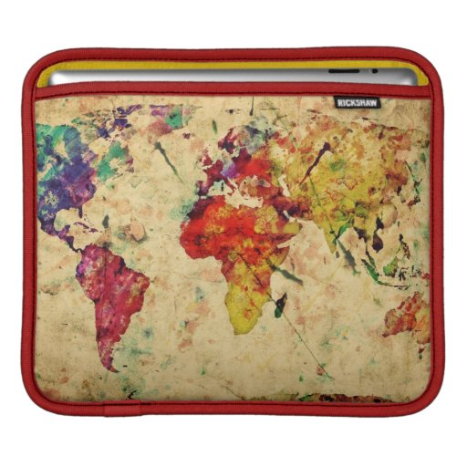 Vintage world map sleeves for iPads