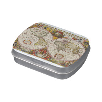 Vintage World Map Jelly Belly Candy Tin