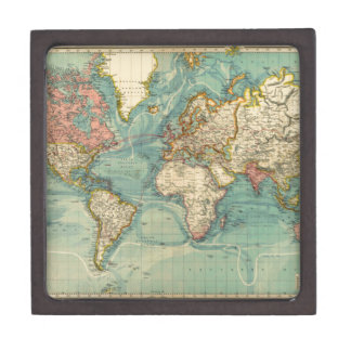 Vintage World Map Keepsake Box