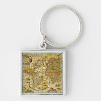 Vintage World Map Silver-Colored Square Keychain