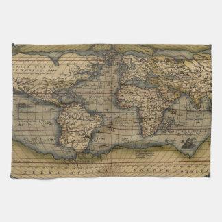 Vintage World Map Hand Towel