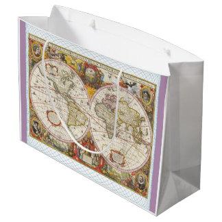 Vintage World Map Large Gift Bag