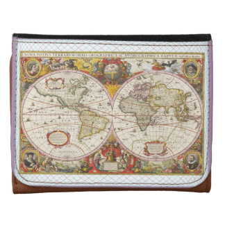 Vintage World Map Leather Wallet