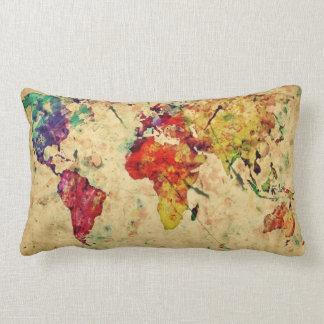 Vintage world map lumbar pillow