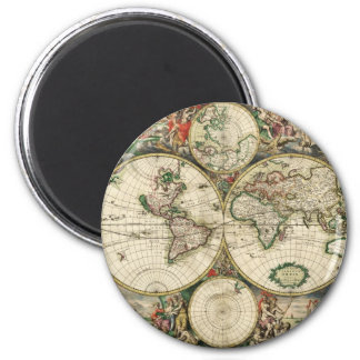 Vintage World Map Fridge Magnets