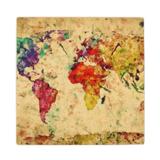 Vintage world map wood coaster
