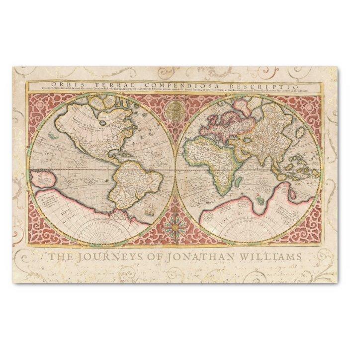 Vintage World Map Monogram Name Tissue Paper Zazzle Com
