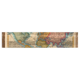 Vintage World Map Name Plate