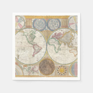 Vintage World Map Napkin