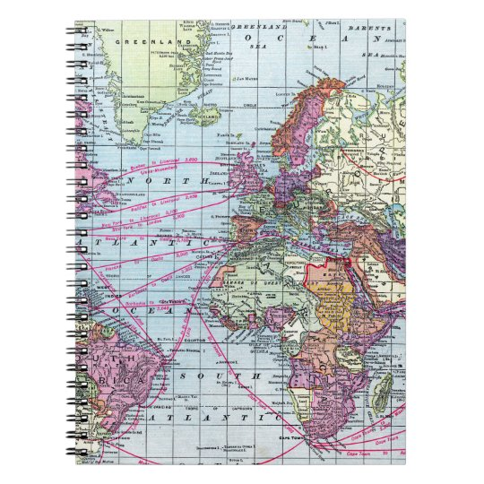 Vintage world map notebook zazzle vintage world map notebook gumiabroncs Choice Image