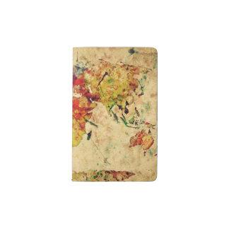 Vintage world map pocket moleskine notebook cover with notebook