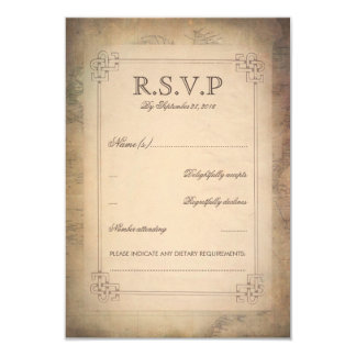 Vintage World Map Old Wedding RSVP Cards