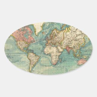 Vintage World Map Oval Sticker