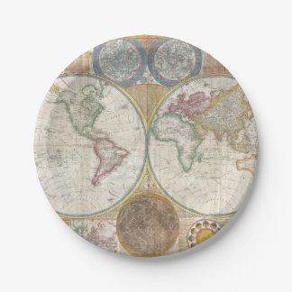 Vintage WORLD MAP Paper Plate