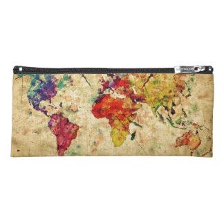 Vintage world map pencil case