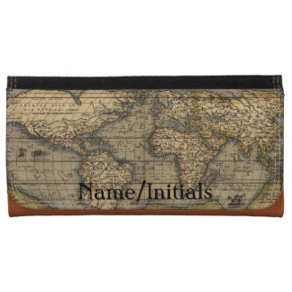 Vintage World Map Personalized Wallets
