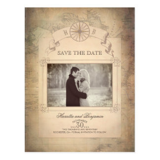 Vintage World Map Photo Save the Date Postcard