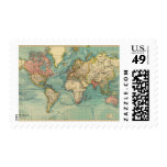 Vintage World Map Postage Stamp