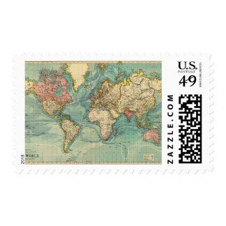 Vintage World Map Postage Stamp
