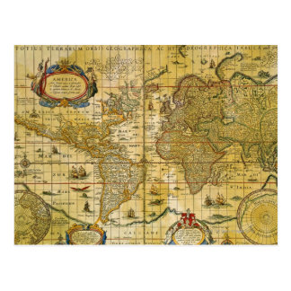 Vintage World Map Postcard