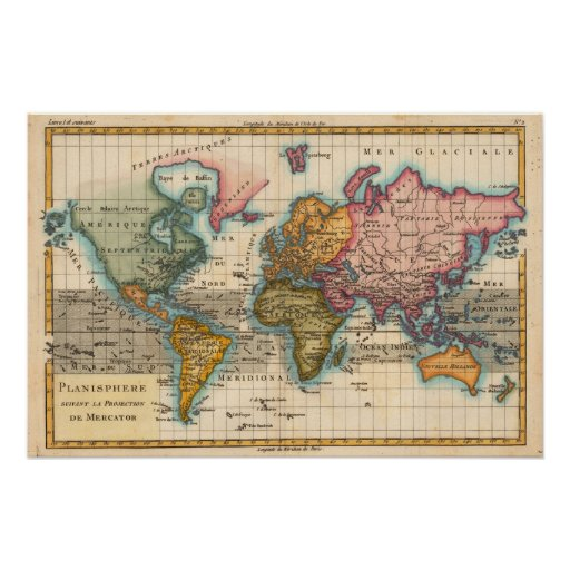 Vintage World Map Poster Zazzle