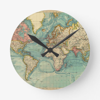 Vintage World Map Round Clock