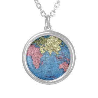 Vintage World Map Round Pendant Necklace
