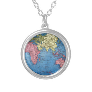 Vintage World Map Silver Plated Necklace