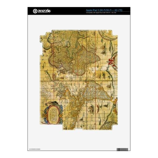 Vintage World Map Skins For iPad 3