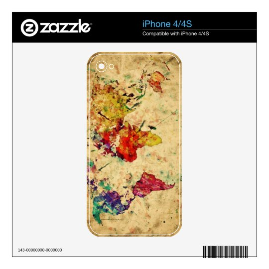 Vintage world map skins for iPhone 4