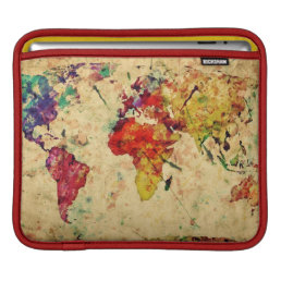 Vintage world map sleeve for iPads