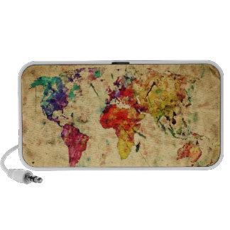 Vintage world map travel speakers