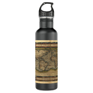 Vintage World Map Stainless Steel Water Bottle