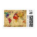 Vintage world map stamp