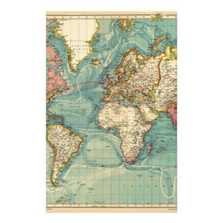 Vintage World Map Stationery