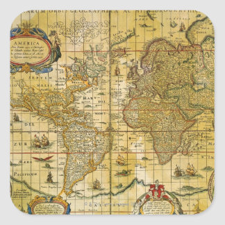 Vintage World Map Square Stickers