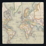 """Vintage World Map Stone Coaster<br><div class=""""desc"""">These unique vintage world map coasters will make the perfect addition to your traveler/adventurer decor. They are made using a high resolution scan of an antique map.</div>"""