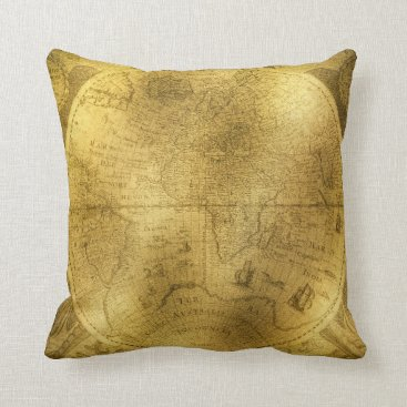 sterlingnights Vintage World Map taupe gold distressed Throw Pillow