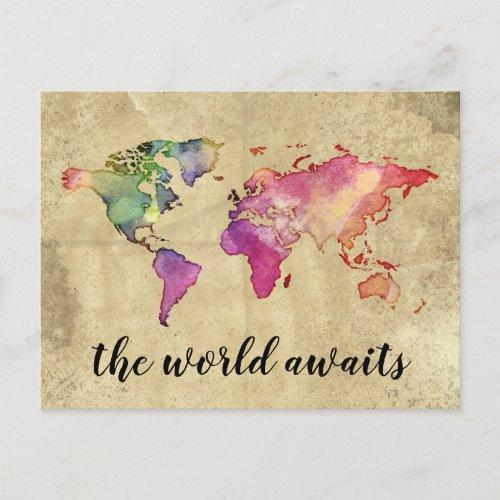 Vintage World Map  The World Awaits Postcard