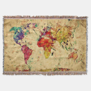 Ancient map throw fleece custom blankets zazzle vintage world map throw blanket gumiabroncs