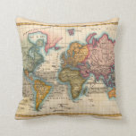 Vintage World Map Throw Pillow