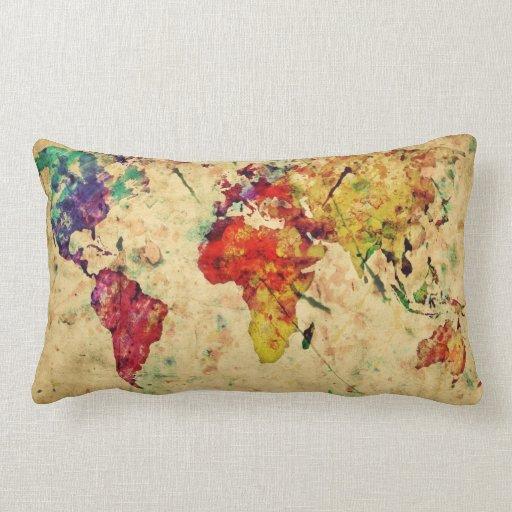 Vintage world map throw pillows Zazzle