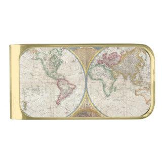 Vintage World Map Money Clip