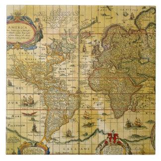 Vintage World Map Tile