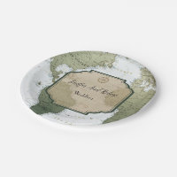 Vintage world map travel themed wedding paper plate