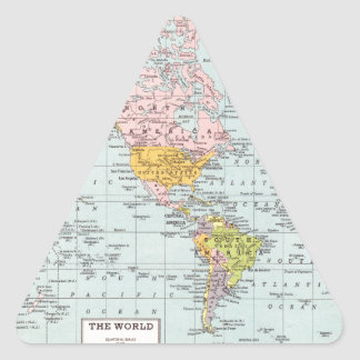 Vintage World Map Triangle Sticker